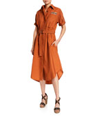 Brunello Cucinelli Monili-Beaded Short-Sleeve Safari Dress