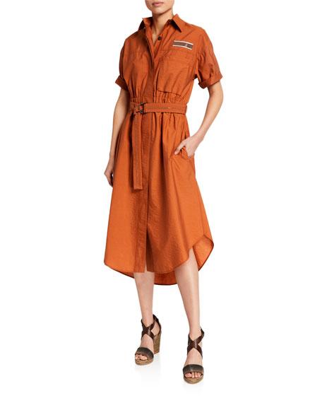 Brunello Cucinelli Monili-Beaded Short-Sleeve Safari Dress