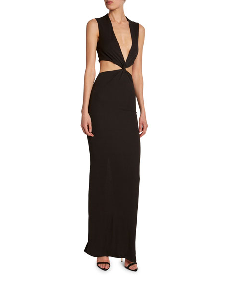 TOM FORD Cutout Draped Center V-Neck Dress