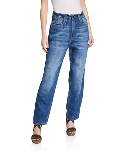 Heavy Denim Drawstring-Waist Jeans