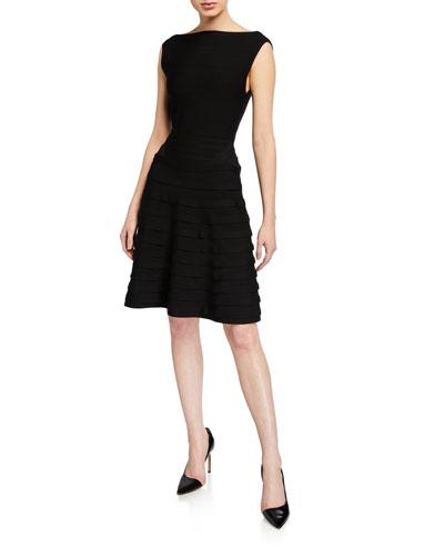 Ribbon Ponte Knit Sleeveless Dress