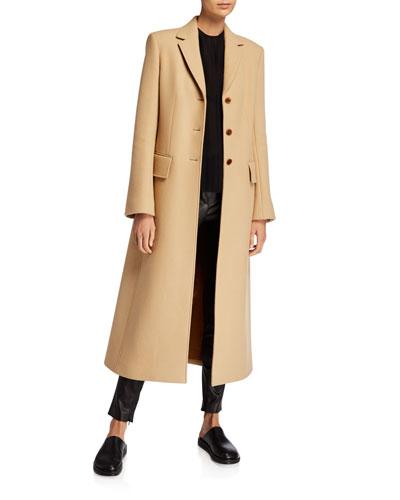 Sua Wool-Blend Button-Front Coat