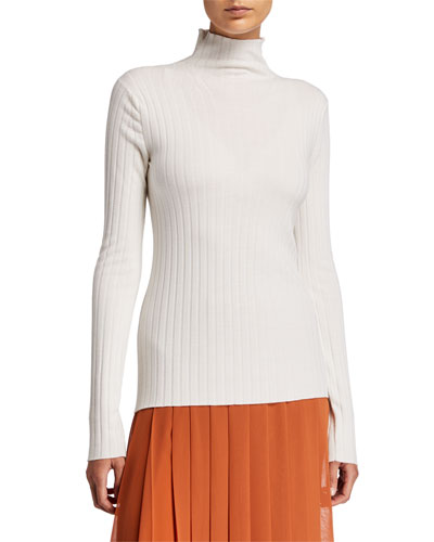 Bottani Ribbed Merino-Cashmere Turtleneck Sweater