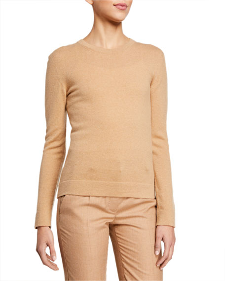 Agnona Cashmere Crewneck Sweater with Tubular Trim