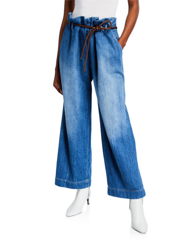 Wide-Leg Paperbag Waist Jeans
