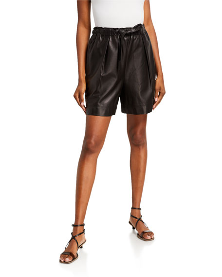 Brunello Cucinelli Leather Pull-On Shorts