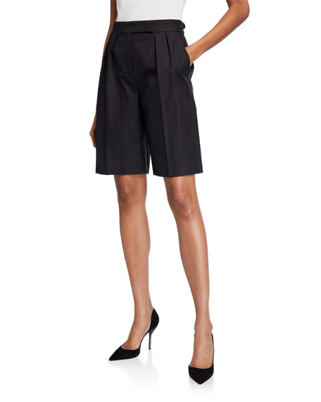 Maxmara Cotton Twill Pleated Safari Shorts