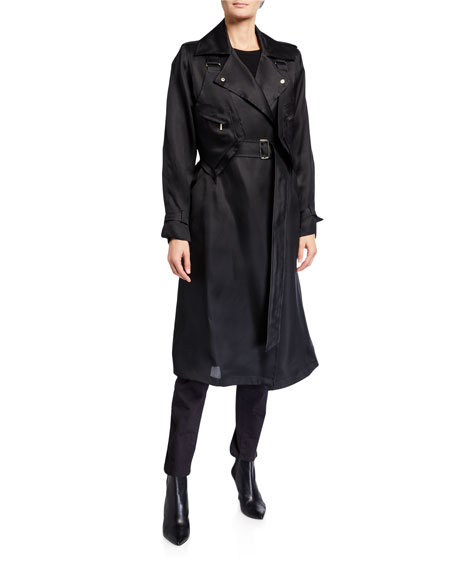 Maxmara Maesa Silk Trench Coat with Harness