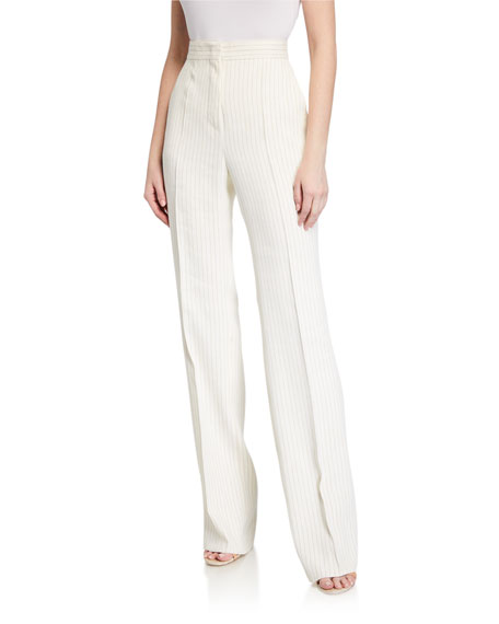 Maxmara Classe Pinstriped Linen Trousers
