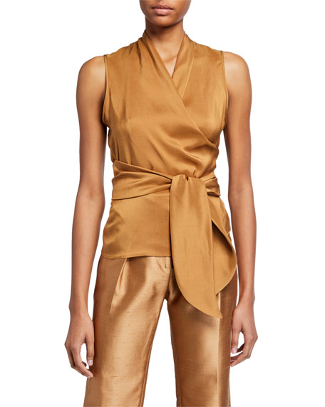 Maxmara Tobacco Silk & Jersey Wrapped Blouse