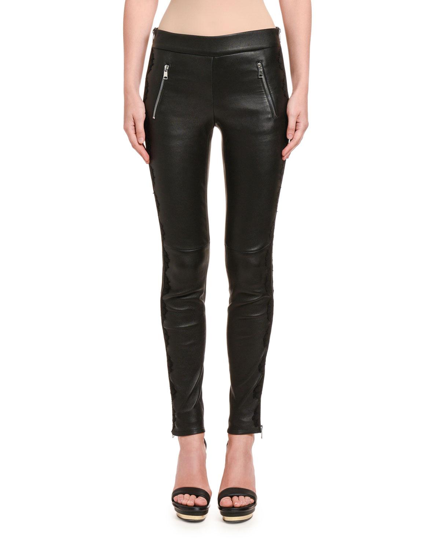 Leather Zip-Pocket Leggings