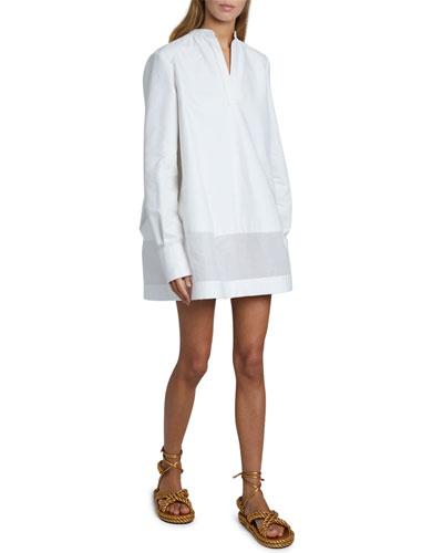V-Neck Long-Sleeve Sheer Bottom Oversized Shirtdress