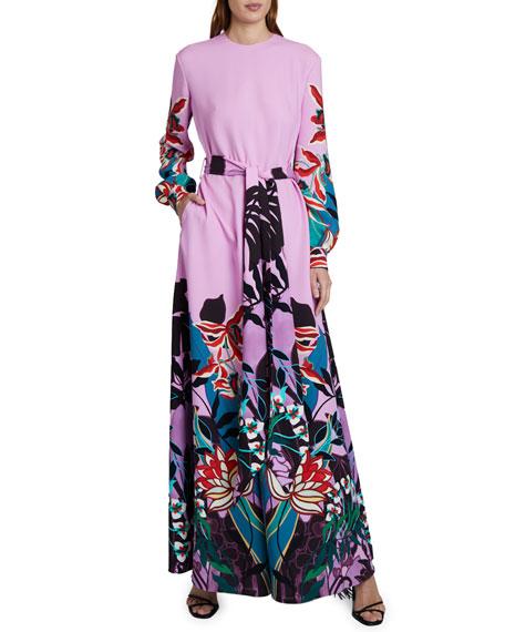 Valentino Placed Floral Print Tie-Waist Jumpsuit