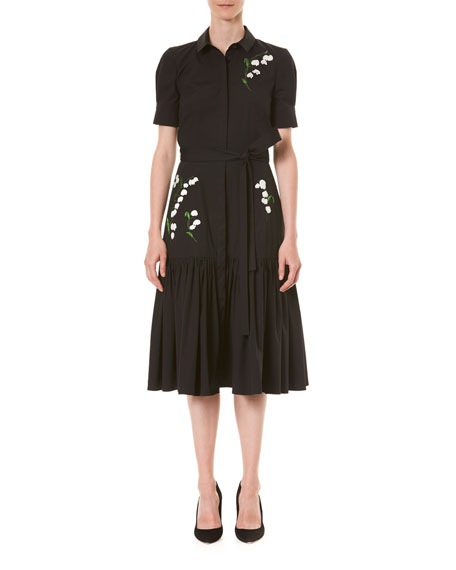 Carolina Herrera Embroidered Tie-Waist Shirtdress