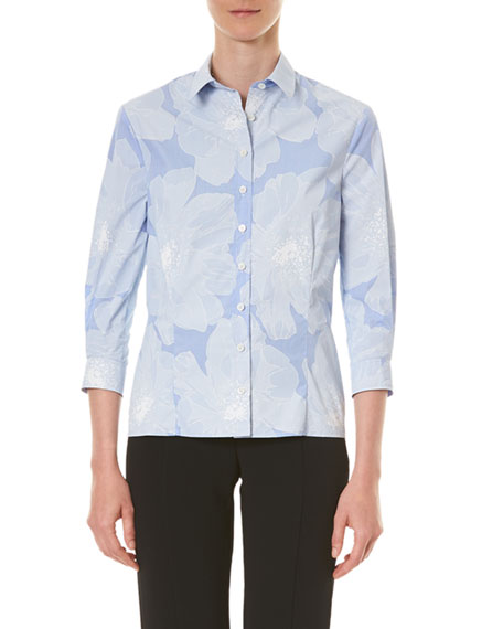 Carolina Herrera Tonal Floral Pinstriped Classic Button-Front Shirt