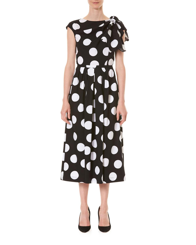 Carolina Herrera Cottons FLUTTER-SHOULDER POLKA-DOT A-LINE DRESS