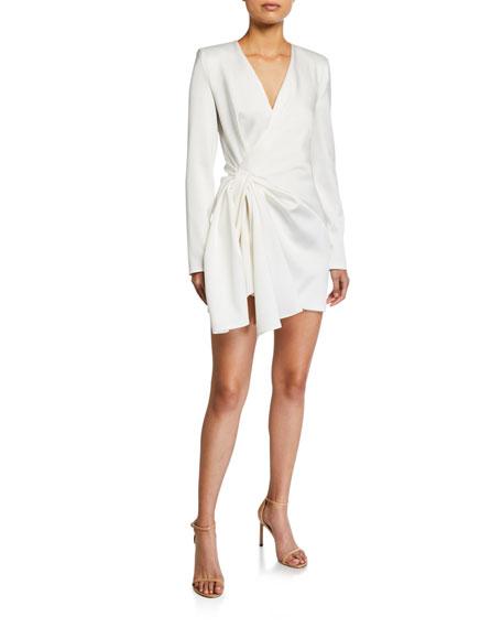 UNTTLD Satin Decollete Long-Sleeve Dress