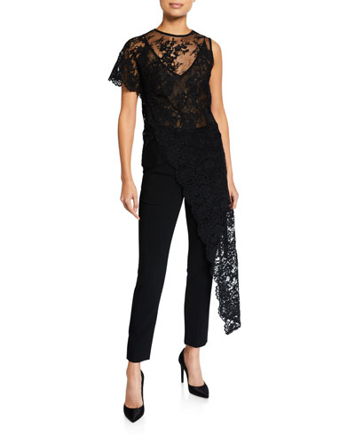 One-Sleeve Lace Asymmetric Top