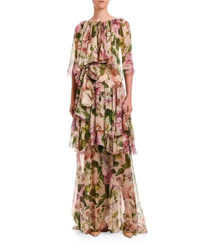 Floral Gown with Ruffle Skirt