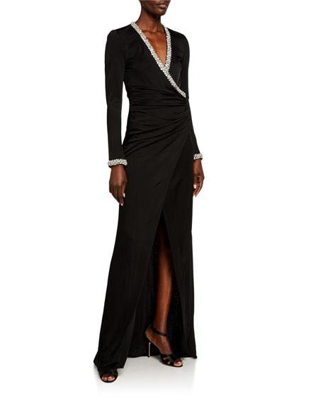 Haney Tatum Crystal V-Neck Column Gown