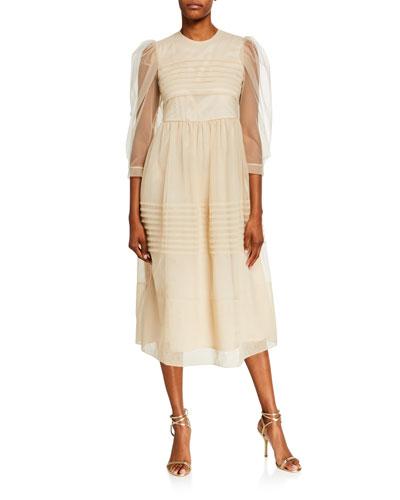 Pleated Tulle Puff-Sleeve Dress