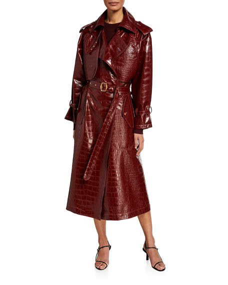 Sies Marjan Alligator-Embossed Faux-Leather Trench Coat