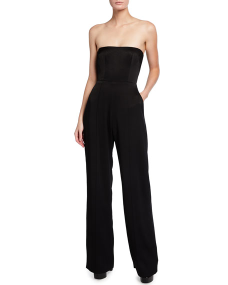 Alex Perry MacKenzie Satin Crepe Strapless Jumpsuit