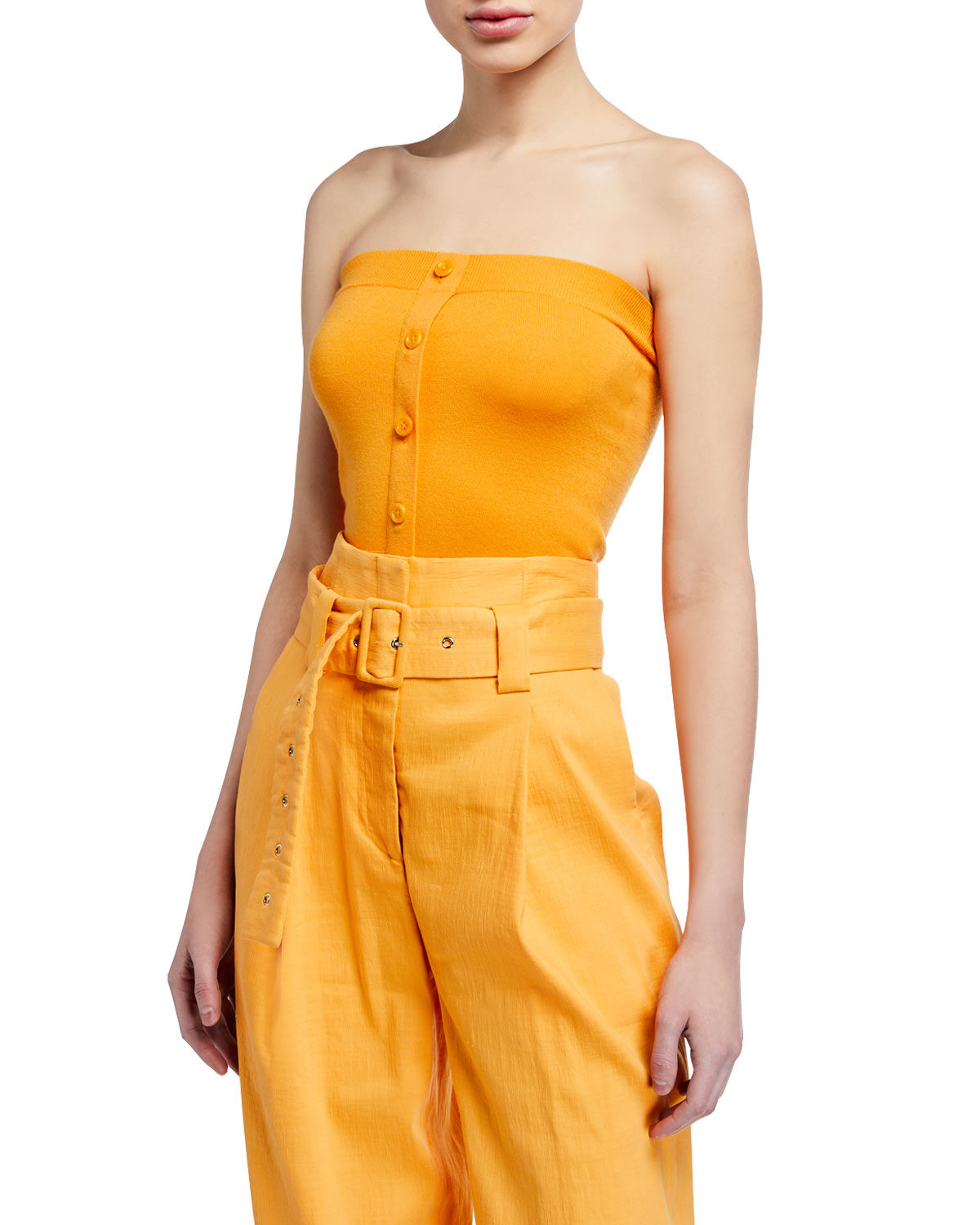 Sies Marjan Tops STRAPLESS BUTTON-FRONT TUBE TOP