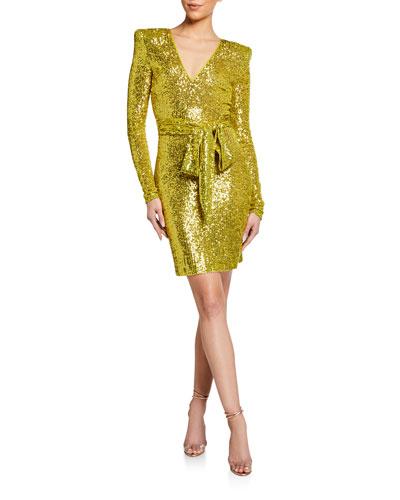 Stretch Sequined Wrap Dress