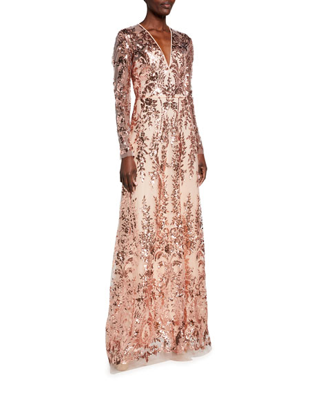 Naeem Khan Sequined Lace Illusion Long-Sleeve Gown
