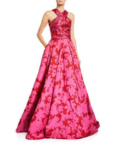 Floral Mikado Halter-Neck Gown