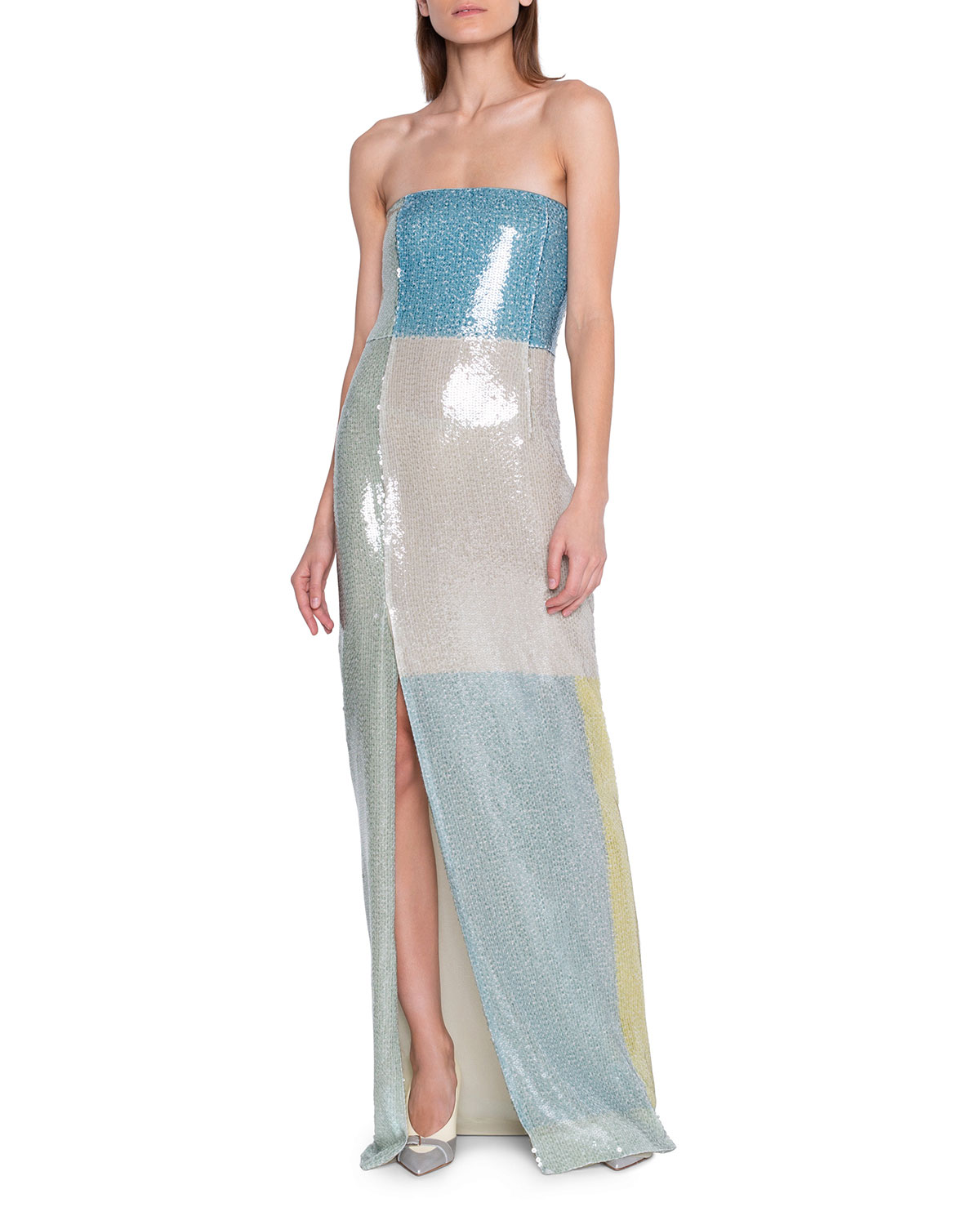 Akris Dresses SEQUIN-COLORBLOCKED STRAPLESS GOWN