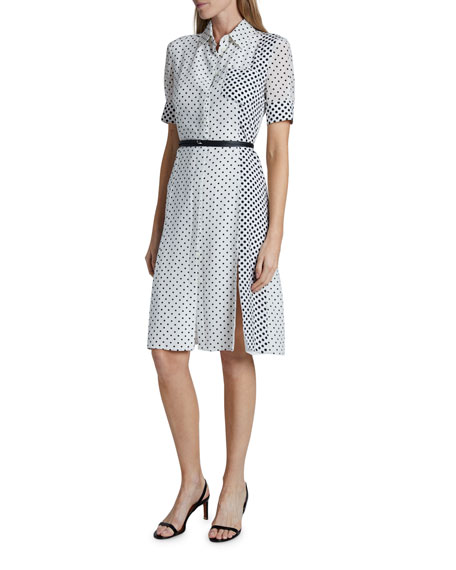 Altuzarra Polka-Dotted Silk Short-Sleeve Shirtdress