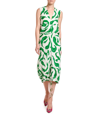 Leaves Illusion Draped Dress