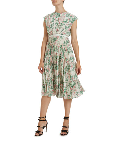 Pleated Floral Print Silk Dress