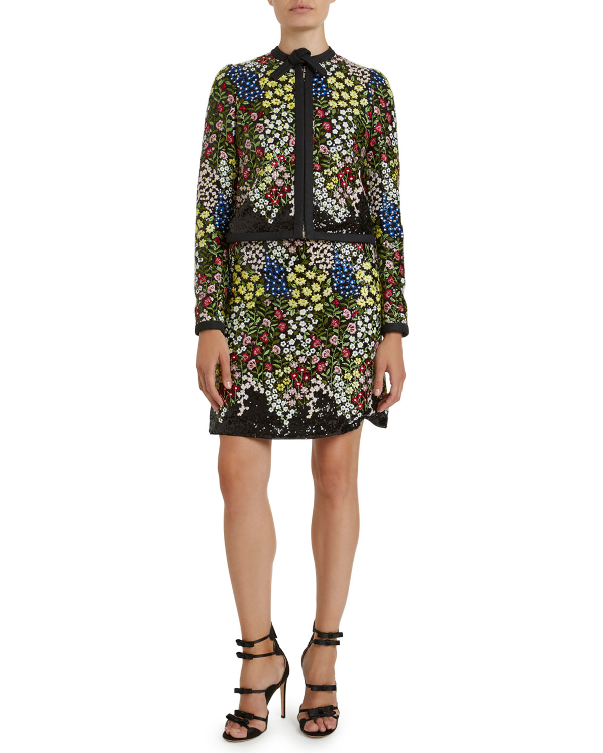 Giambattista Valli Jackets FLORAL EMBROIDERED SEQUINED JACKET