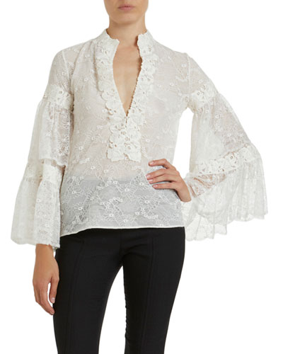 Lace Banded-Collar Bell-Sleeve Blouse
