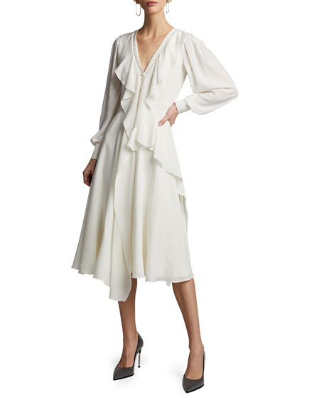 Alexander McQueen Silk Ruffled V-Neck Dress