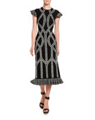 Alexander McQueen Chain Print Midi Skirt