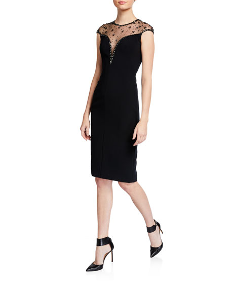 Jenny Packham Iva V-Neck Illusion Cocktail Dress