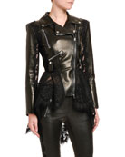Alexander McQueen High-Low Lace Peplum Leather Moto Jacket