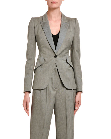 Alexander McQueen Textured One-Button Blazer Jacket