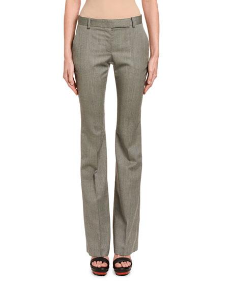 Alexander McQueen Textured Wool Bootleg Trousers