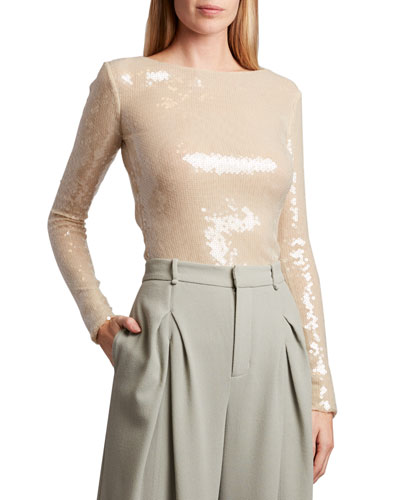 Mosta Sequined Open Back Blouse
