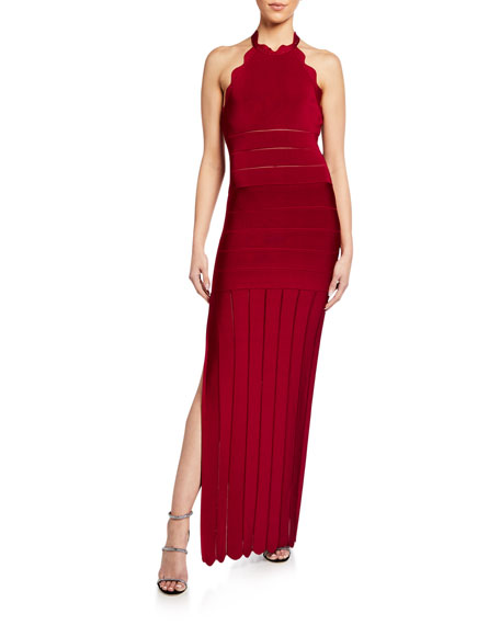 Herve Leger Bandage Gown With Scalloped Detail