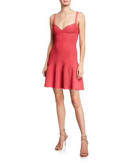 Herve Leger Mini Dress With Flare Skirt