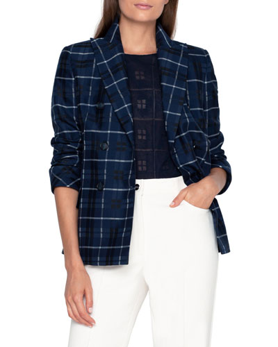 Plaid Double-Breasted Blazer Jacket