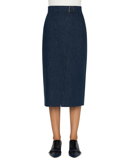 Akris Cotton Denim Stretch Faux-Wrap Belted Midi Skirt