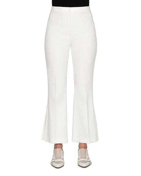 Akris Faria Stretch Cotton Pleated-Flare Pants