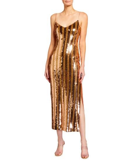 Galvan Stargaze Sequin Slip Dress